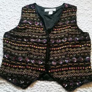 Vintage Niteline Womens Large Beaded Black Vest